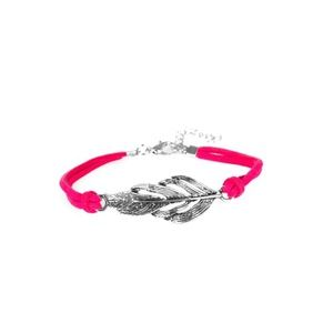 Paparazzi- Pink and silver feather bracelet